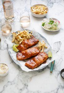 Roasted salmon with a miso and orange glaze recipe