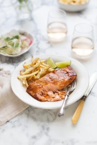 Roasted salmon with a miso and orange glaze recipe