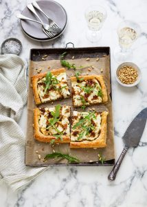 Caramelised onion tart with whipped ricotta & goats' cheese recipe