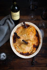 Lamb shank pie with red wine, rosemary & bay recipe