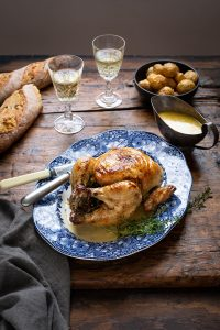 Roast chicken with herbs, white wine & cream recipe