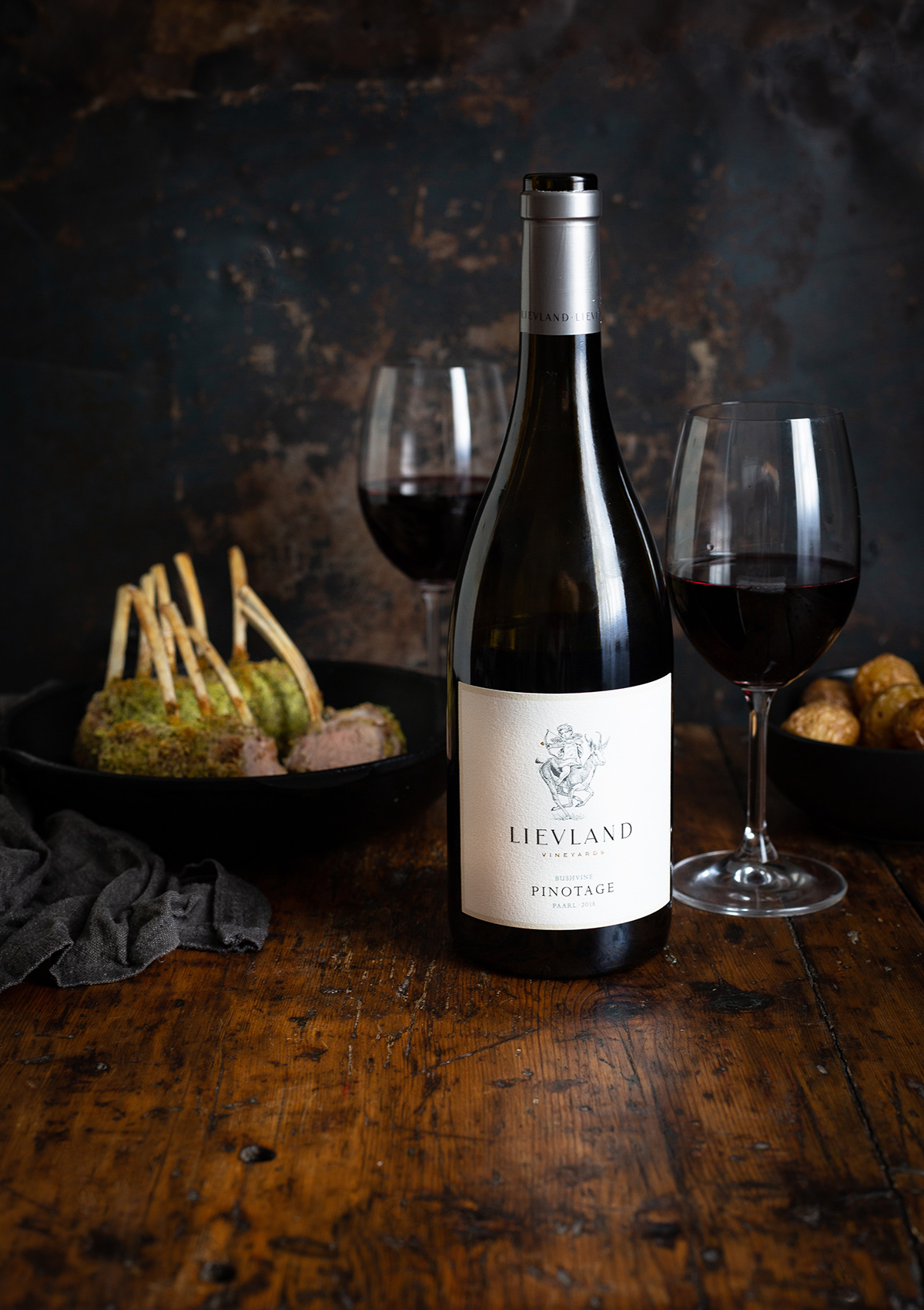 Herb crusted rack of lamb recipe and Lievland Vineyards Pinotage