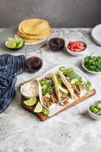 A recipe for Mexican inspired pork carnitas tacos with chipotle