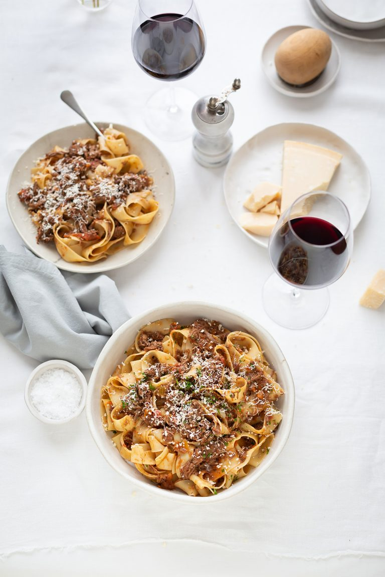 Slow-braised beef brisket ragu with pappardelle recipe