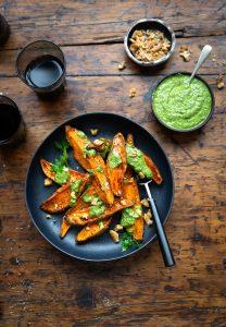 Roasted sweet potato with parsley & walnut pesto recipe (vegan)