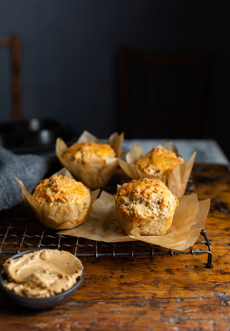 Cheese & herb muffins with whipped Bovril butter recipe