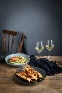 Spicy chicken skewers with green papaya salad recipe