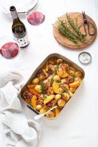 Roast chicken with orange, ginger & new potatoes recipe