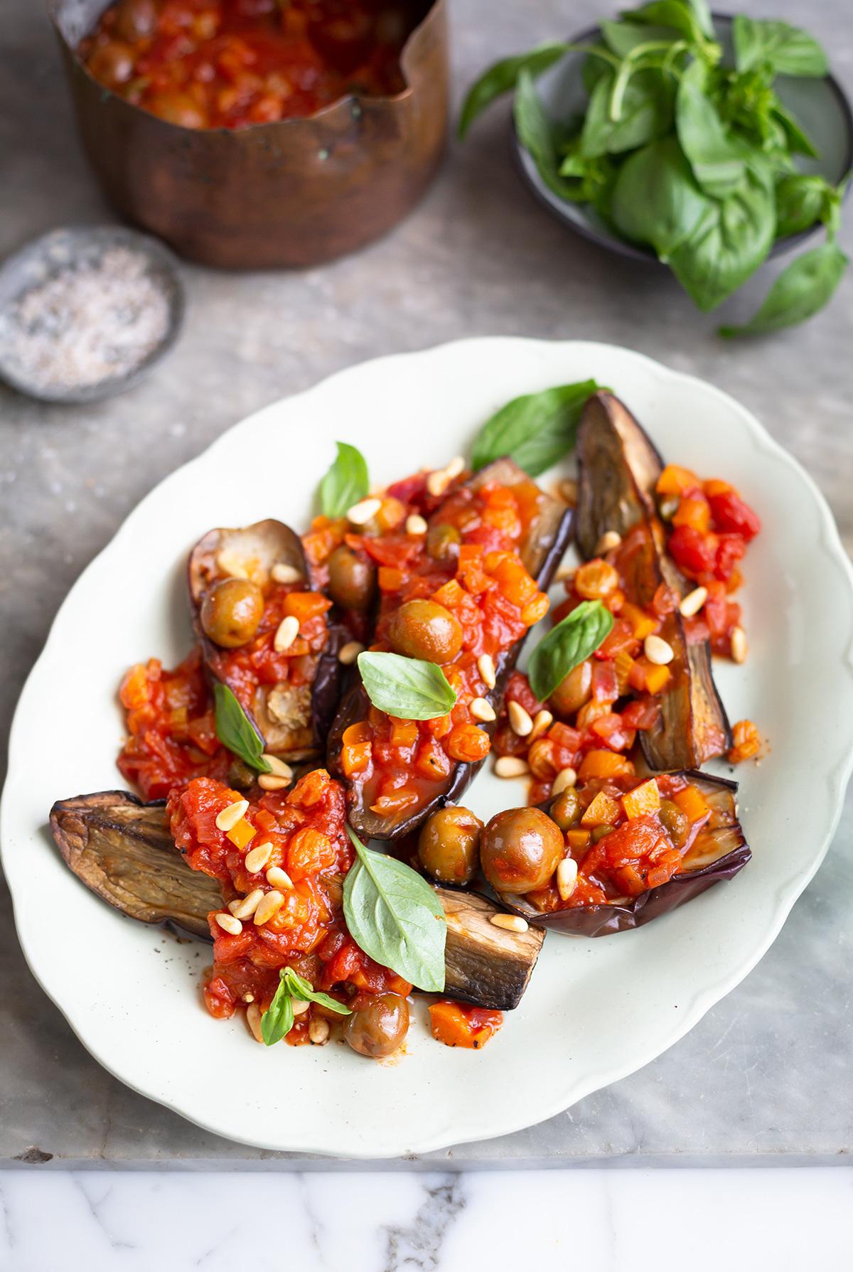 Roasted eggplant with caponata recipe